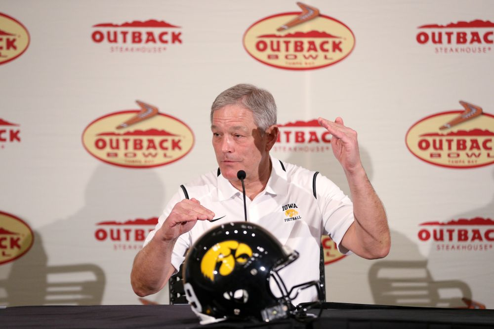 Iowa Hawkeyes head coach Kirk Ferentz answers questions during the Outback Bowl coach's press conference Saturday, December 29, 2018 in Tampa, FL. (Brian Ray/hawkeyesports.com)