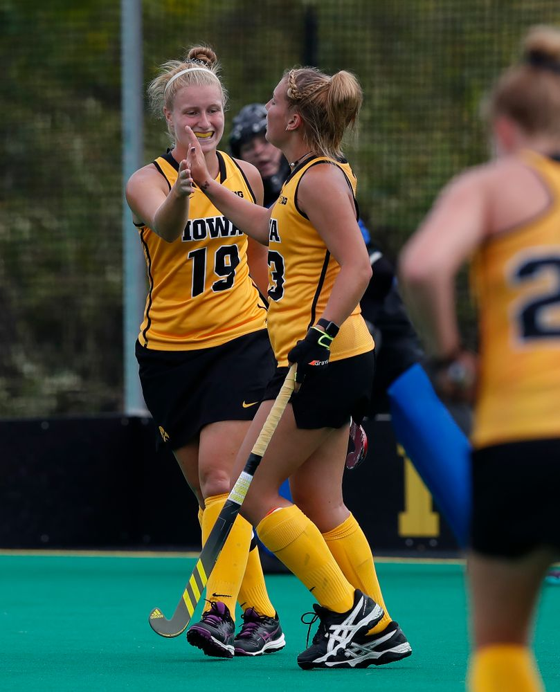 Iowa Hawkeyes Leah Zellner (13) and Ryley Miller (19) against Ball State Sunday, September 2, 2018 at Grant Field. (Brian Ray/hawkeyesports.com)