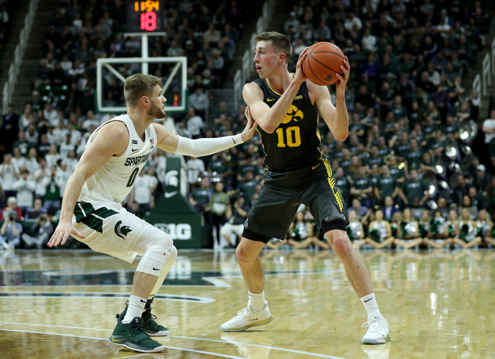 Iowa Hawkeyes guard Joe Wieskamp (10) against Michigan State Tuesday, February 25, 2020 at the Breslin Center in East Lansing, MI. (Brian Ray/hawkeyesports.com)
