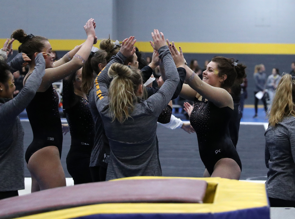 Erin Castle competes on the vault during the Black and Gold intrasquad meet Saturday, December 1, 2018 at the University of Iowa Field House. (Brian Ray/hawkeyesports.com)