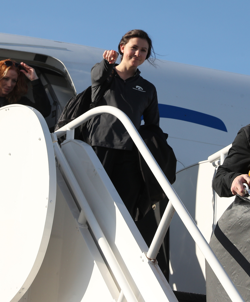 Director of Basketball Operations Kathryn Reynolds arrives in Greensboro, NC for the Regionals of the 2019 NCAA Women's Basketball Championships Thursday, March 28, 2019 at the Eastern Iowa Airport. (Brian Ray/hawkeyesports.com)