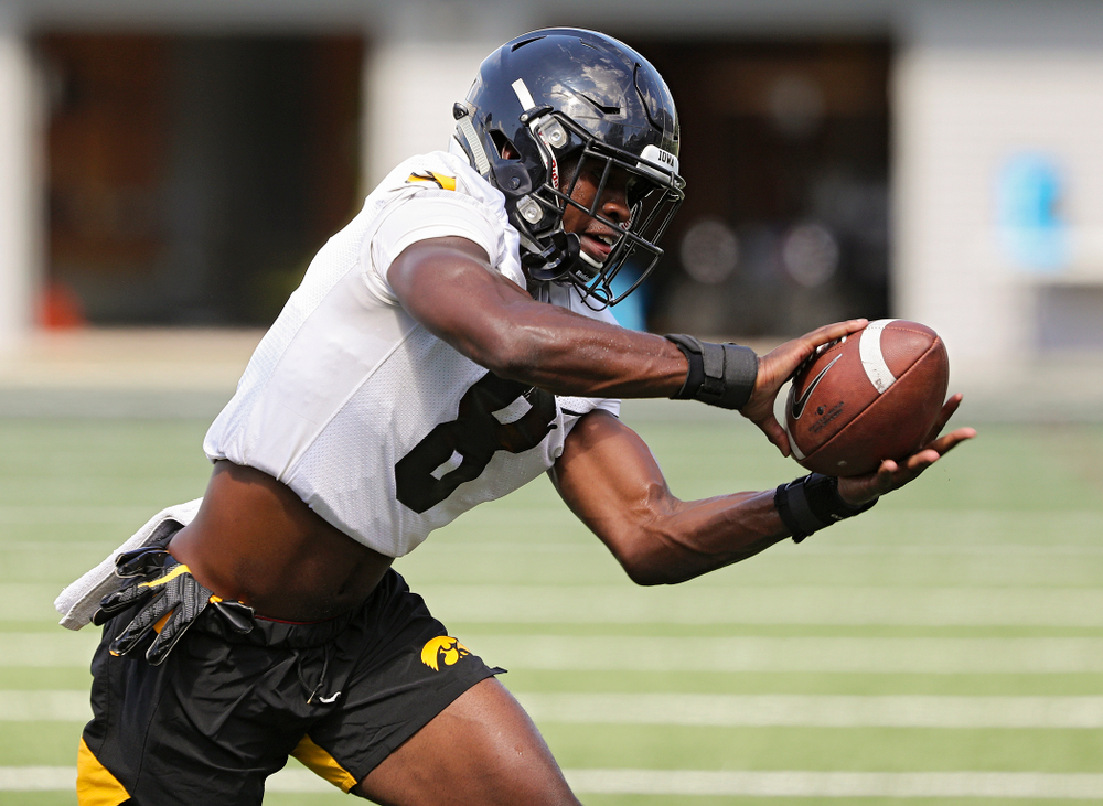 Iowa Hawkeyes defensive back Matt Hankins (8) pulls in a pass as they run a drill during Fall Camp Practice No. 13 at the Hansen Football Performance Center in Iowa City on Friday, Aug 16, 2019. (Stephen Mally/hawkeyesports.com)