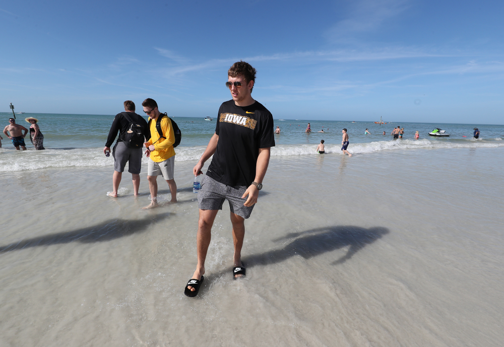 Iowa Hawkeyes tight end T.J. Hockenson (38) during the Outback Bowl Beach Day Sunday, December 30, 2018 at Clearwater Beach. (Brian Ray/hawkeyesports.com)