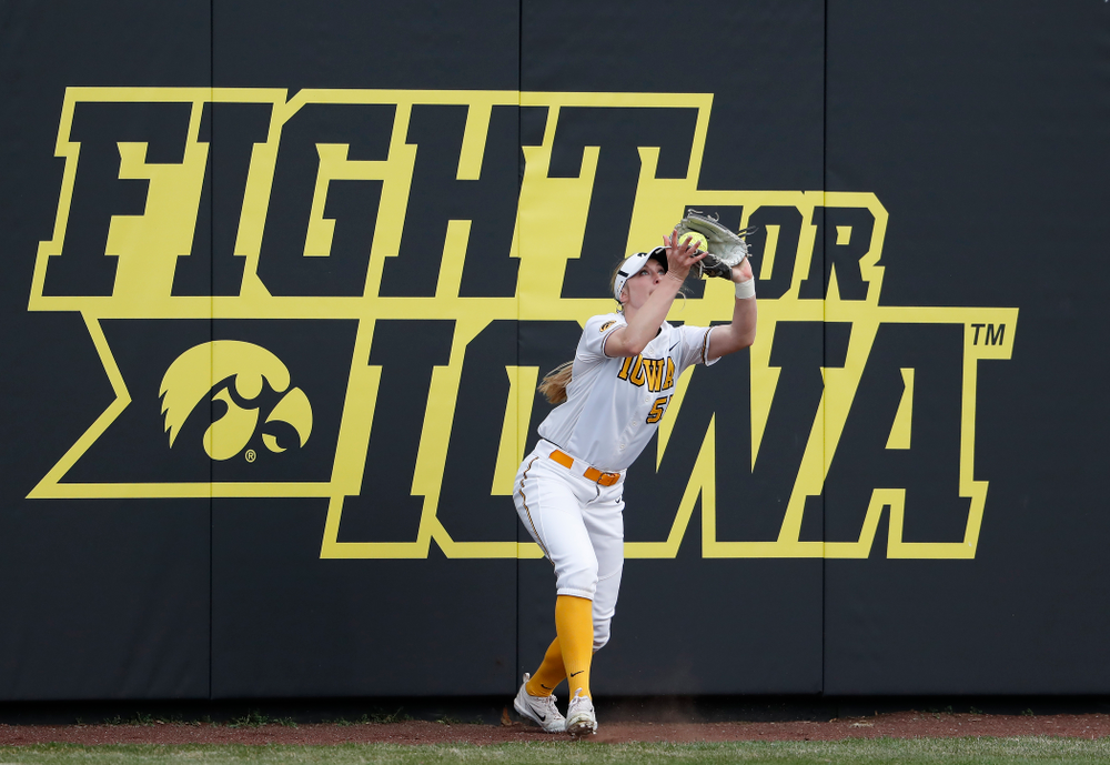 Iowa Hawkeyes infielder Mckenzie Schneider (55) against the Minnesota Golden Gophers  Thursday, April 12, 2018 at Bob Pearl Field. (Brian Ray/hawkeyesports.com)