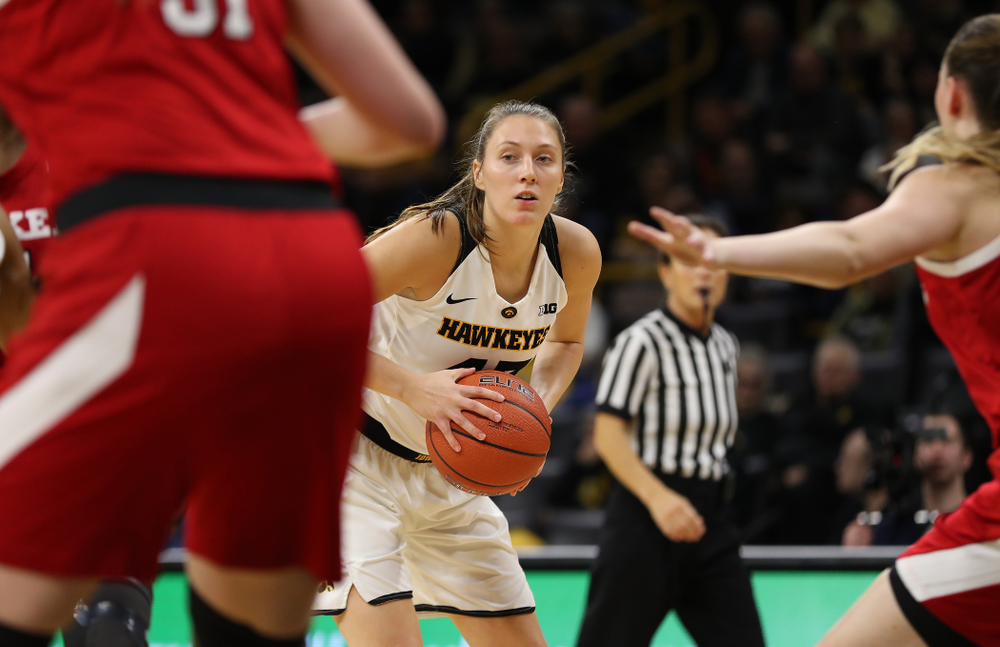 Iowa Hawkeyes forward Amanda Ollinger (43) against the Nebraska Cornhuskers Thursday, January 3, 2019 at Carver-Hawkeye Arena. (Brian Ray/hawkeyesports.com)