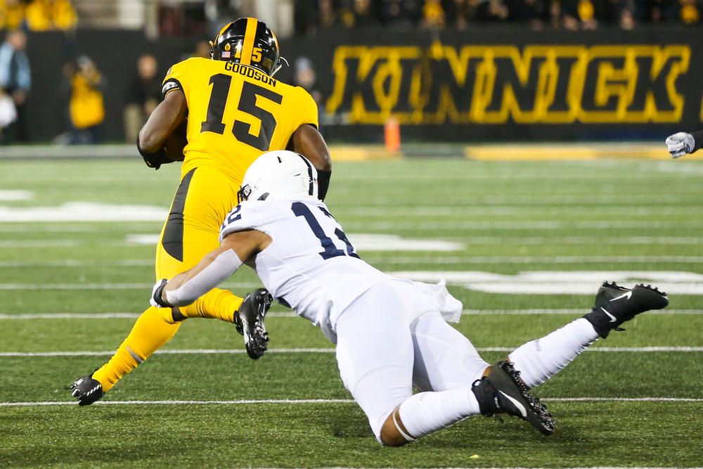 Iowa Hawkeyes running back Tyler Goodson (15) during Iowa football vs Penn State on Saturday, October 12, 2019 at Kinnick Stadium. (Lily Smith/hawkeyesports.com)