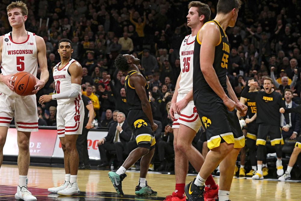 Iowa Hawkeyes guard Joe Toussaint (1) is pumped up after making a basket while being fouled during the second half of their game at Carver-Hawkeye Arena in Iowa City on Monday, January 27, 2020. (Stephen Mally/hawkeyesports.com)