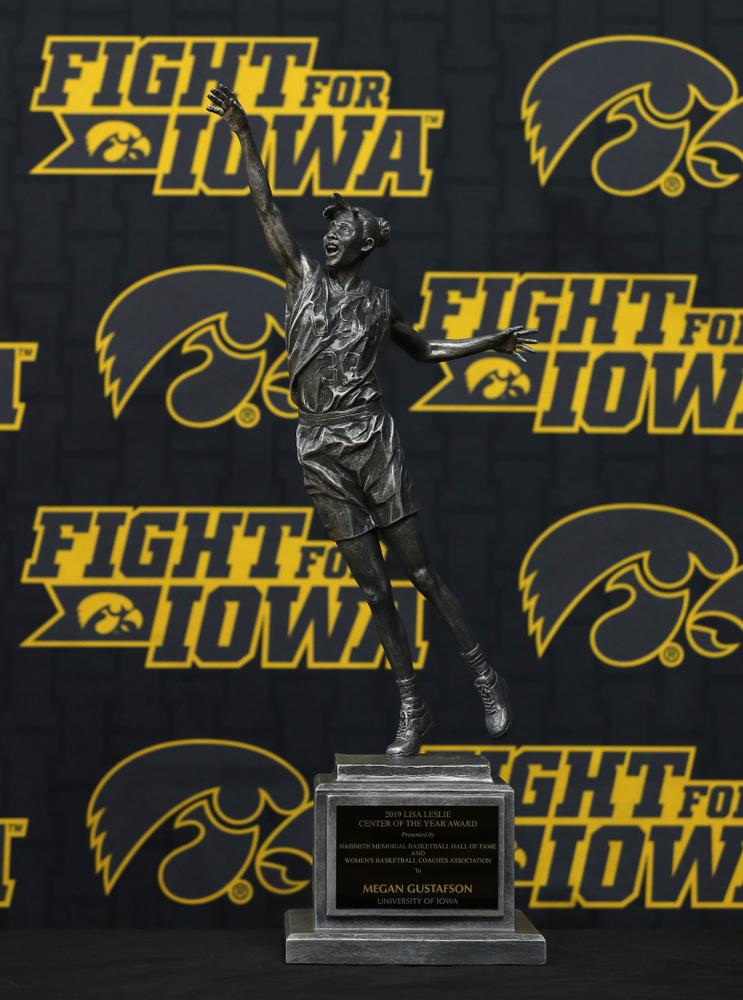 Iowa Hawkeyes forward Megan GustafsonÕs Lisa Leslie Award during the teamÕs Celebr-Eight event Wednesday, April 24, 2019 at Carver-Hawkeye Arena. (Brian Ray/hawkeyesports.com)