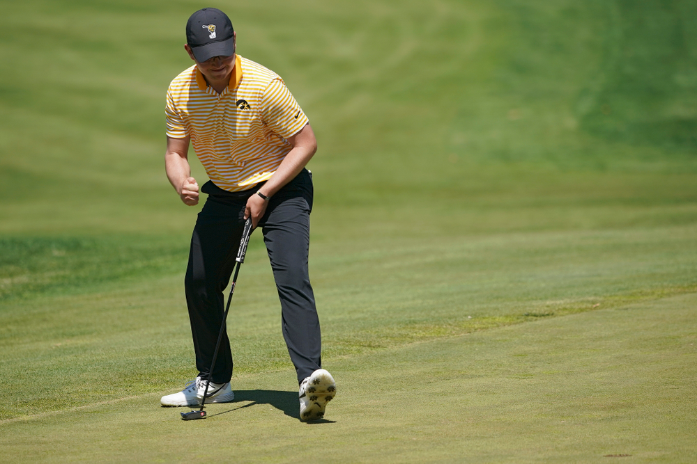 Iowa's Matthew Walker pumps his fist after making a putt during the third round of the Hawkeye Invitational at Finkbine Golf Course in Iowa City on Sunday, Apr. 21, 2019. (Stephen Mally/hawkeyesports.com)