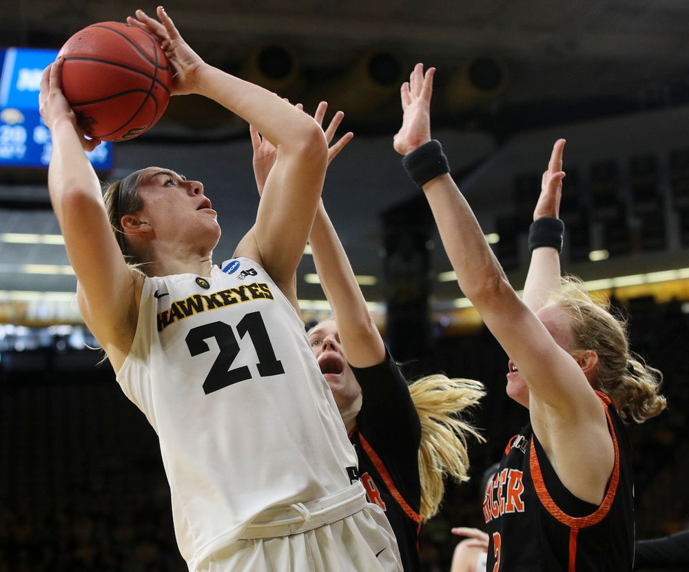 Iowa Hawkeyes forward Hannah Stewart (21) makes a basket during the first round of the 2019 NCAA Women's Basketball Tournament at Carver Hawkeye Arena in Iowa City on Friday, Mar. 22, 2019. (Stephen Mally for hawkeyesports.com)