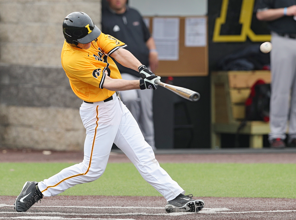 Iowa Hawkeyes designated hitter Austin Martin (34) gets a hit during the first inning of their game against Northern Illinois at Duane Banks Field in Iowa City on Tuesday, Apr. 16, 2019. (Stephen Mally/hawkeyesports.com)