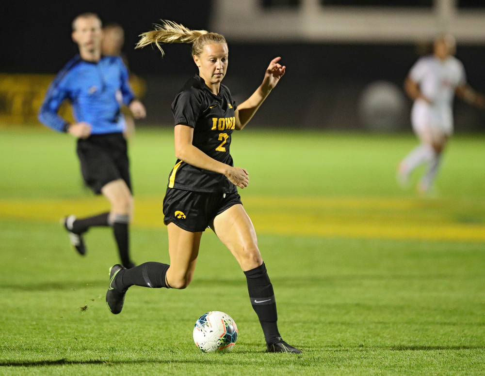 Iowa midfielder Hailey Rydberg (2) moves with the ball during the second half of their match against Illinois at the Iowa Soccer Complex in Iowa City on Thursday, Sep 26, 2019. (Stephen Mally/hawkeyesports.com)