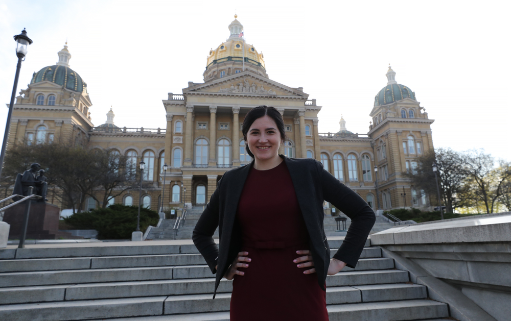Iowa WomenÕs BasketballÕs Megan Gustafson is recognized with a resolution by the house and the senate at the Iowa State Capitol Wednesday, April 24, 2019 in Des Moines. (Brian Ray/hawkeyesports.com)
