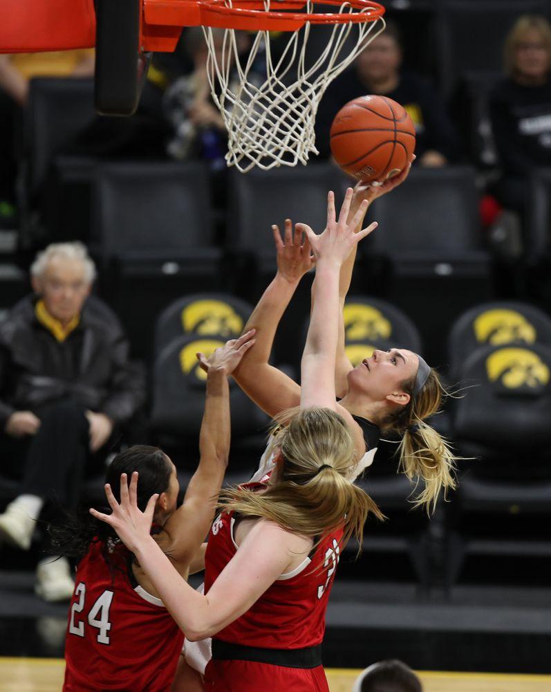 Iowa Hawkeyes forward Hannah Stewart (21) against the Nebraska Cornhuskers Thursday, January 3, 2019 at Carver-Hawkeye Arena. (Brian Ray/hawkeyesports.com)