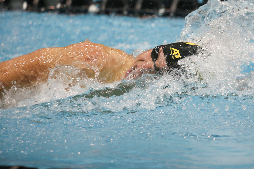 Iowa's Mateusz Arndt swims the 200-yard freestyle during the Iowa swimming and diving meet vs Notre Dame and Illinois on Saturday, January 11, 2020 at the Campus Recreation and Wellness Center. (Lily Smith/hawkeyesports.com)