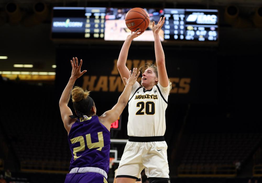 Iowa Hawkeyes guard Kate Martin (20) against North Alabama Thursday, November 14, 2019 at Carver-Hawkeye Arena. (Brian Ray/hawkeyesports.com)