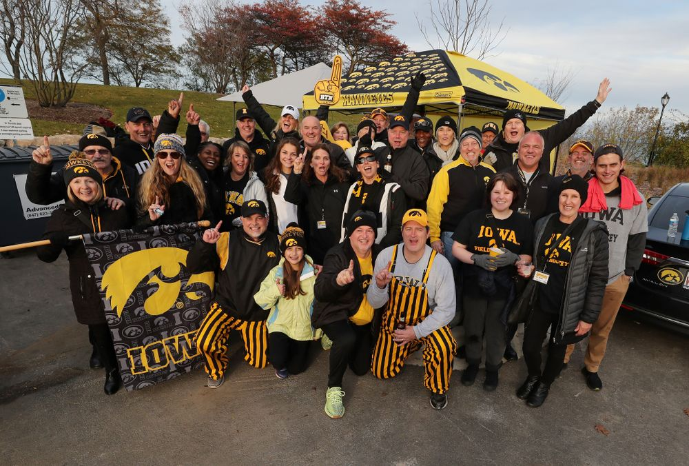 Family members of the Iowa Field Hockey team celebrate their win against the Michigan Wolverines in the semi-finals of the Big Ten Tournament Friday, November 2, 2018 at Lakeside Field on the campus of Northwestern University in Evanston, Ill. (Brian Ray/hawkeyesports.com)