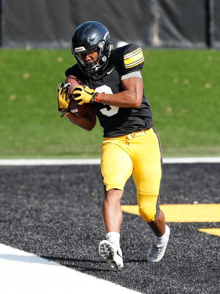 Iowa Hawkeyes wide receiver Tyrone Tracy Jr. (3) during camp practice No. 17 Wednesday, August 22, 2018 at the Kenyon Football Practice Facility. (Brian Ray/hawkeyesports.com)