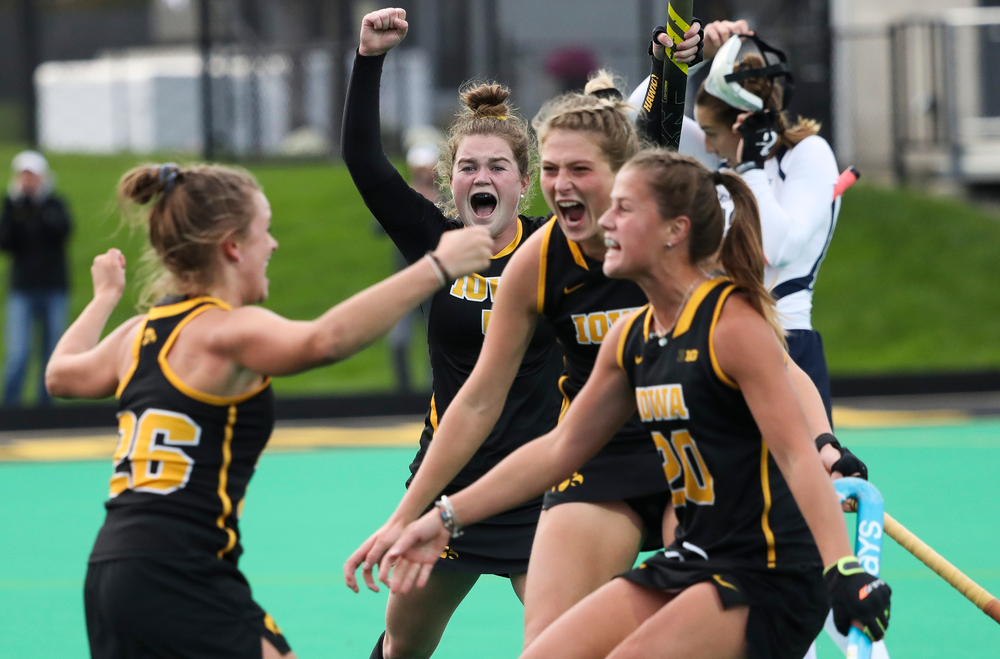 Iowa Hawkeyes midfielder Meghan Conroy (5) celebrates after a goal scored by Iowa Hawkeyes forward Madeleine Murphy (26) during a game against No. 6 Penn State at Grant Field on October 12, 2018. (Tork Mason/hawkeyesports.com)
