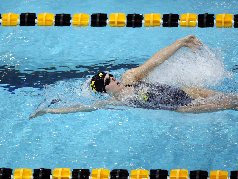 IowaÕs Zoe Pawloski swims the 200 yard backstroke against the Michigan Wolverines Friday, November 1, 2019 at the Campus Recreation and Wellness Center. (Brian Ray/hawkeyesports.com)