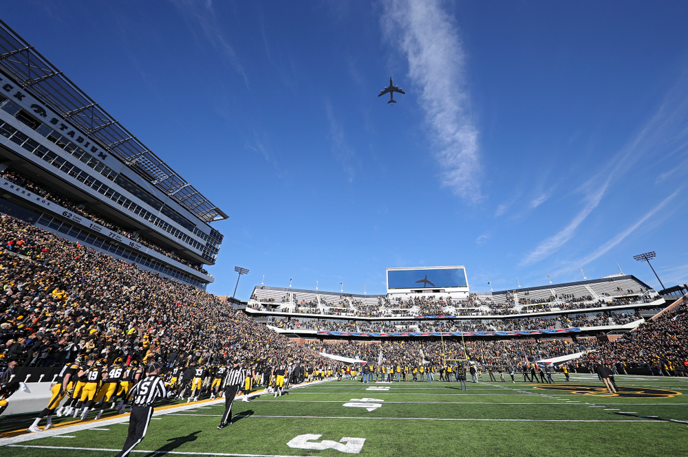 A flyover before their game at Kinnick Stadium in Iowa City on Saturday, Nov 23, 2019. (Stephen Mally/hawkeyesports.com)