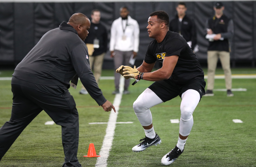 Iowa Hawkeyes tight end Noah Fant (87) during the teamÕs annual Pro Day Monday, March 25, 2019 at the Hansen Football Performance Center. (Brian Ray/hawkeyesports.com)