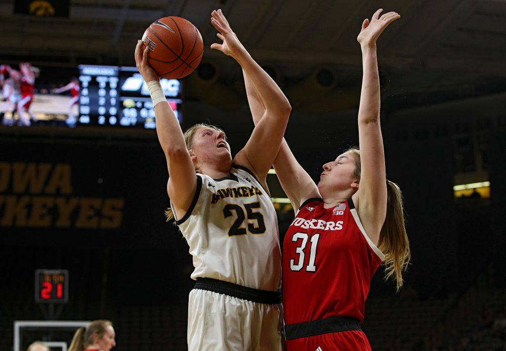 Iowa Hawkeyes forward Monika Czinano (25) makes a basket during the second quarter of the game at Carver-Hawkeye Arena in Iowa City on Thursday, February 6, 2020. (Stephen Mally/hawkeyesports.com)
