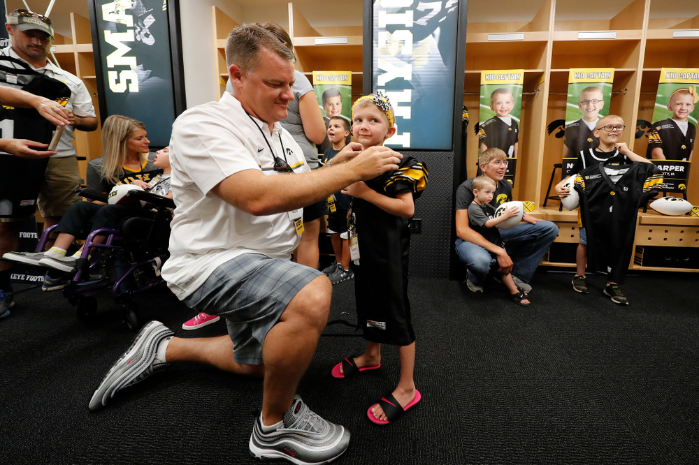 Kid Captain Harper Stribe during Kids Day Saturday, August 11, 2018 at Kinnick Stadium. (Brian Ray/hawkeyesports.com)