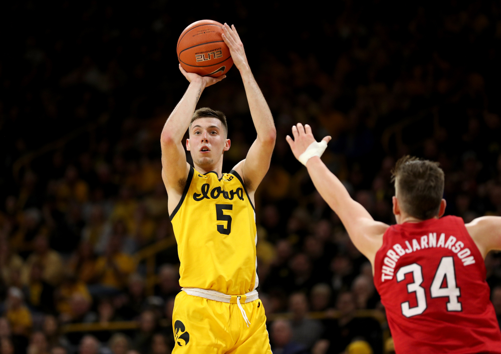 Iowa Hawkeyes guard CJ Fredrick (5) against the Nebraska Cornhuskers Saturday, February 8, 2020 at Carver-Hawkeye Arena. (Brian Ray/hawkeyesports.com)