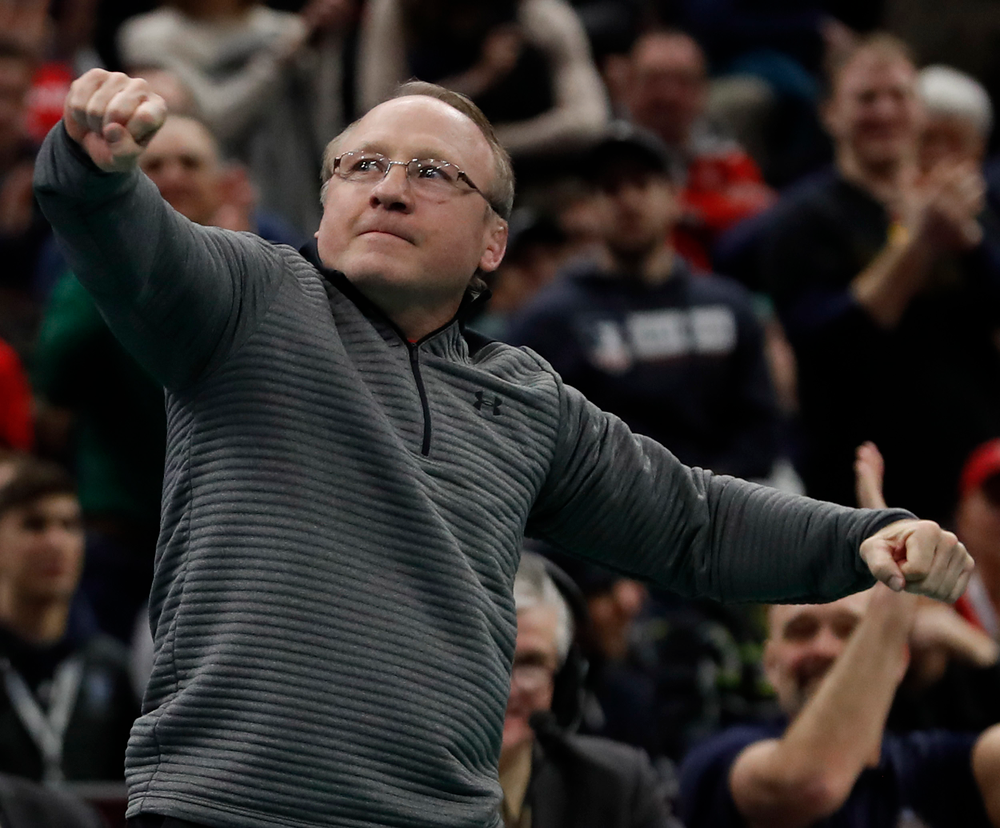 Barry Davis says goodbye to the crowd at the NCAA Championships