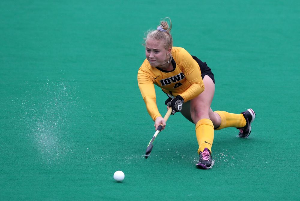 Iowa Hawkeyes Makenna Grewe (4) against Maryland during the championship game of the Big Ten Tournament Sunday, November 4, 2018 at Lakeside Field in Evanston, Ill. (Brian Ray/hawkeyesports.com)
