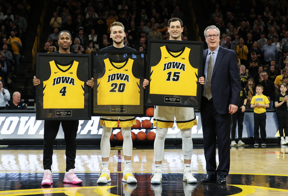 Iowa Hawkeyes seniors Bakari Evelyn, Riley Till, Ryan Kriener, and head coach Fran McCaffery during senior nigh activities before their game against the Purdue Boilermakers Tuesday, March 3, 2020 at Carver-Hawkeye Arena. (Brian Ray/hawkeyesports.com)