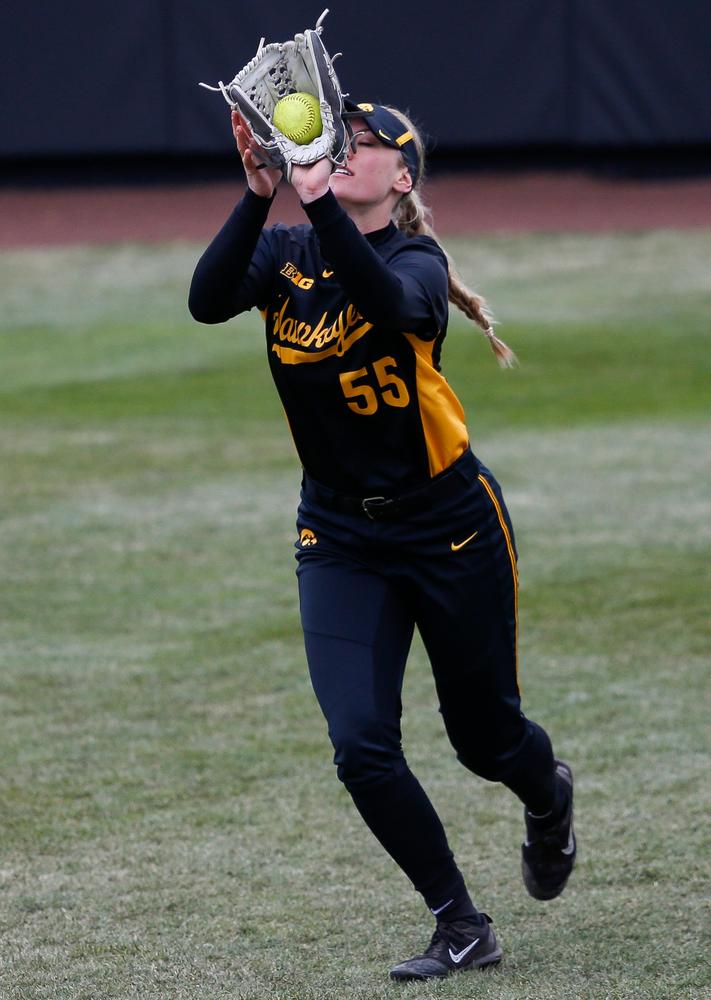 Iowa Hawkeyes outfielder McKenzie Schneider (55)