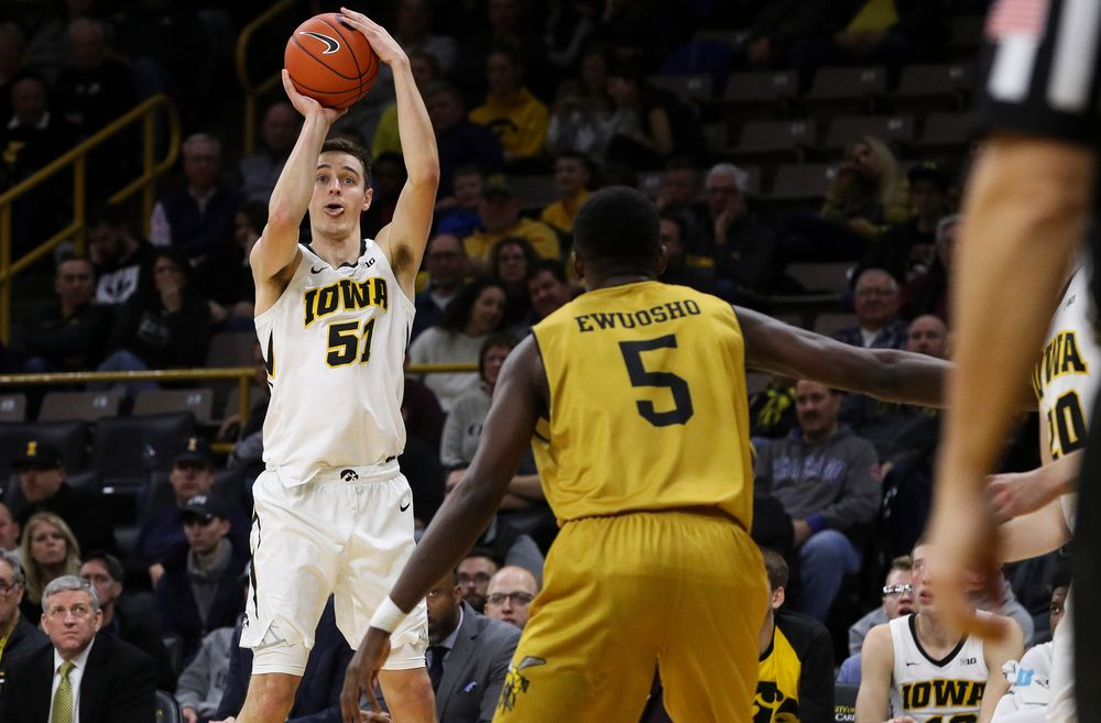 Iowa Hawkeyes forward Nicholas Baer (51) shoots the ball during a game against Alabama State at Carver-Hawkeye Arena on November 21, 2018. (Tork Mason/hawkeyesports.com)