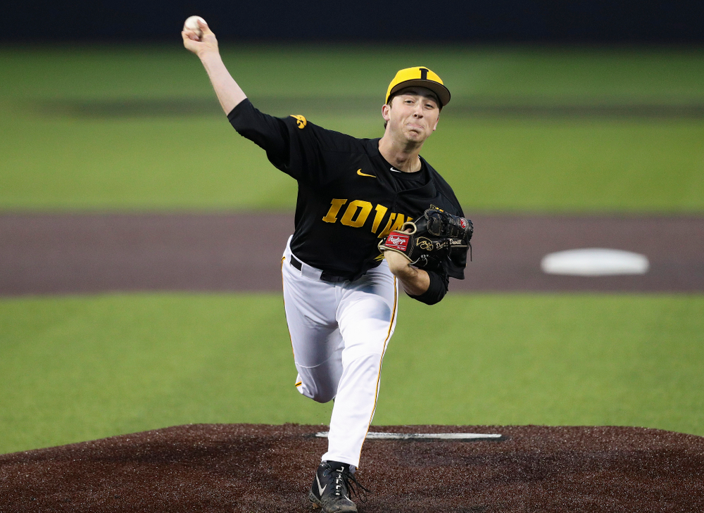 Iowa Hawkeyes pitcher Duncan Davitt (44) delivers to the plate during the fifth inning of their game against Western Illinois at Duane Banks Field in Iowa City on Wednesday, May. 1, 2019. (Stephen Mally/hawkeyesports.com)