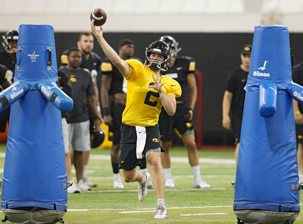 Iowa Hawkeyes quarterback Peyton Mansell (2) throws a pass during Fall Camp Practice No. 9 at the Hansen Football Performance Center in Iowa City on Monday, Aug 12, 2019. (Stephen Mally/hawkeyesports.com)