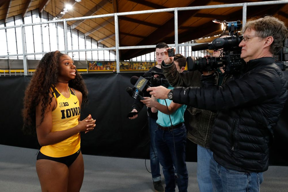 Brittany Brown during the team's media day Wednesday, January 10, 2018 at the indoor track in the Recreation Building. (Brian Ray/hawkeyesports.com)