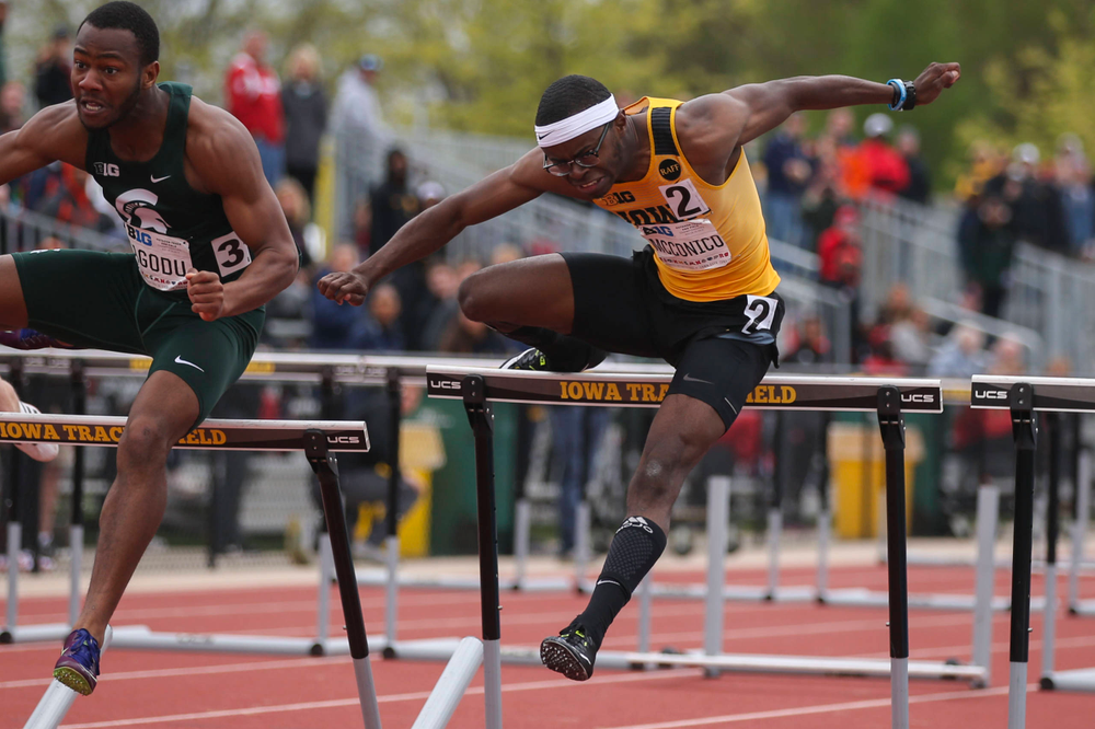 Iowa's Jaylen McConico during men's 110-meter hurdles at Big Ten Outdoor Track and Field Championships at Francis X. Cretzmeyer Track on Sunday, May 12, 2019. (Lily Smith/hawkeyesports.com)