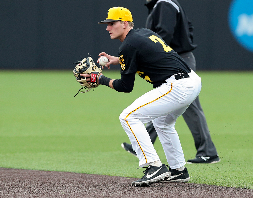 Iowa Hawkeyes second baseman Brendan Sher (2) fields a ground ball before throwing to first for an out during the second inning of their game against Western Illinois at Duane Banks Field in Iowa City on Wednesday, May. 1, 2019. (Stephen Mally/hawkeyesports.com)