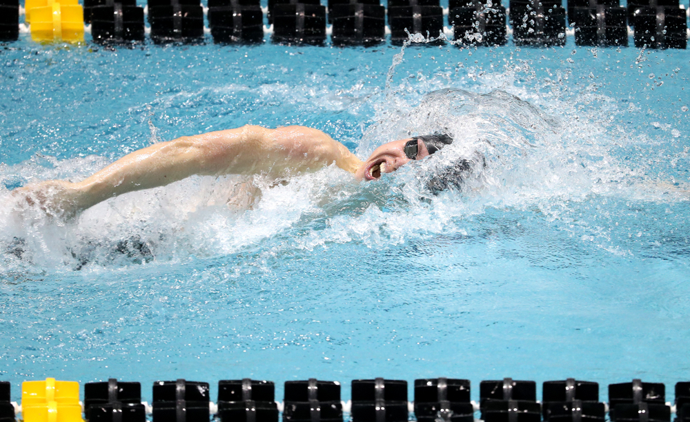 Iowa's Mateusz Arndt swims the second leg of the 800 freestyle relay at the 2019 Big Ten Swimming and Diving meet  Wednesday, February 27, 2019 at the Campus Wellness and Recreation Center. (Brian Ray/hawkeyesports.com)