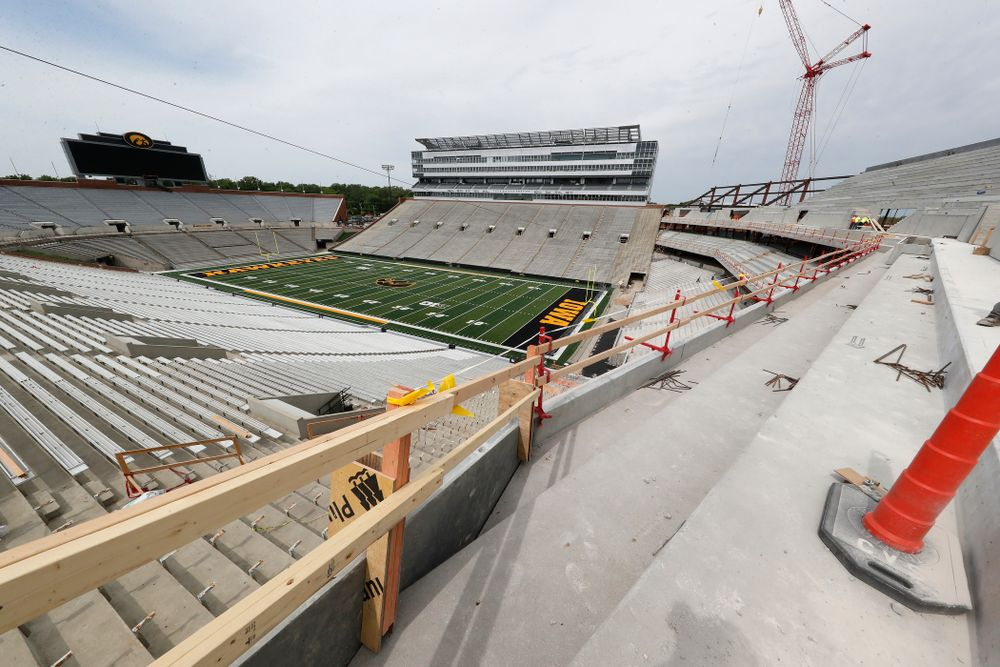 The view from the northeast corner of the lower premium seating area of the third deck in the new north end zone Wednesday, June 6, 2018 at Kinnick Stadium. (Brian Ray/hawkeyesports.com)