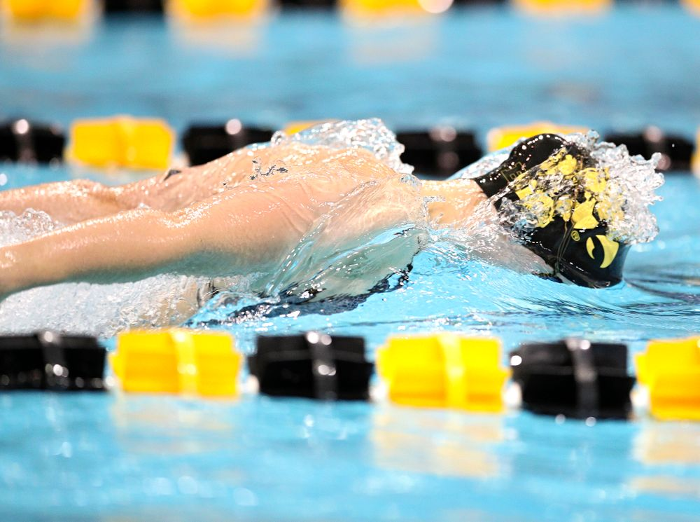 Iowa's Grace Reeder swims the women's 50 yard butterfly event during their meet at the Campus Recreation and Wellness Center in Iowa City on Friday, February 7, 2020. (Stephen Mally/hawkeyesports.com)