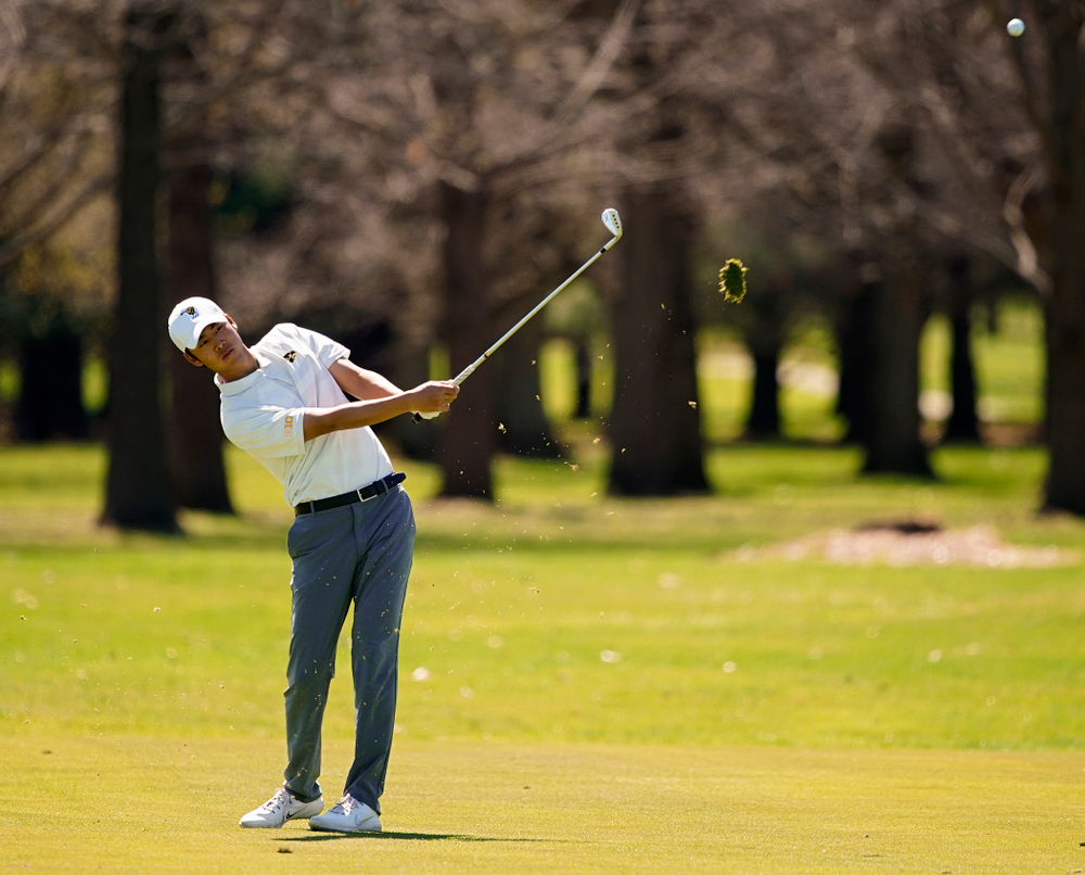Iowa's Joe Kim hits from the fairway during the first round of the Hawkeye Invitational at Finkbine Golf Course in Iowa City on Saturday, Apr. 20, 2019. (Stephen Mally/hawkeyesports.com)