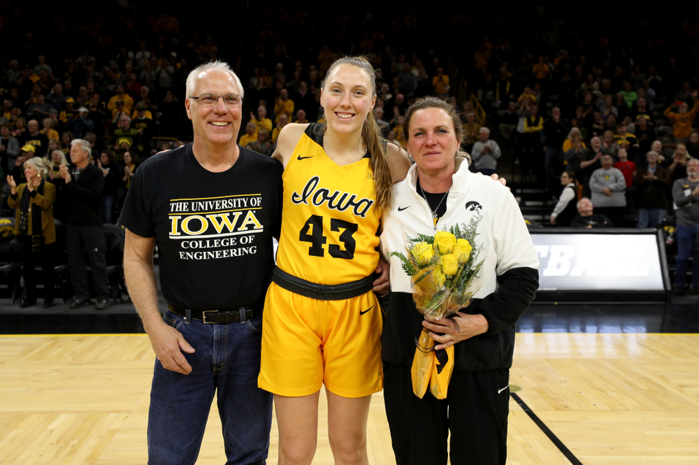 Iowa Hawkeyes forward Amanda Ollinger (43) during senior day activities following their win over the Minnesota Golden Gophers Thursday, February 27, 2020 at Carver-Hawkeye Arena. (Brian Ray/hawkeyesports.com)