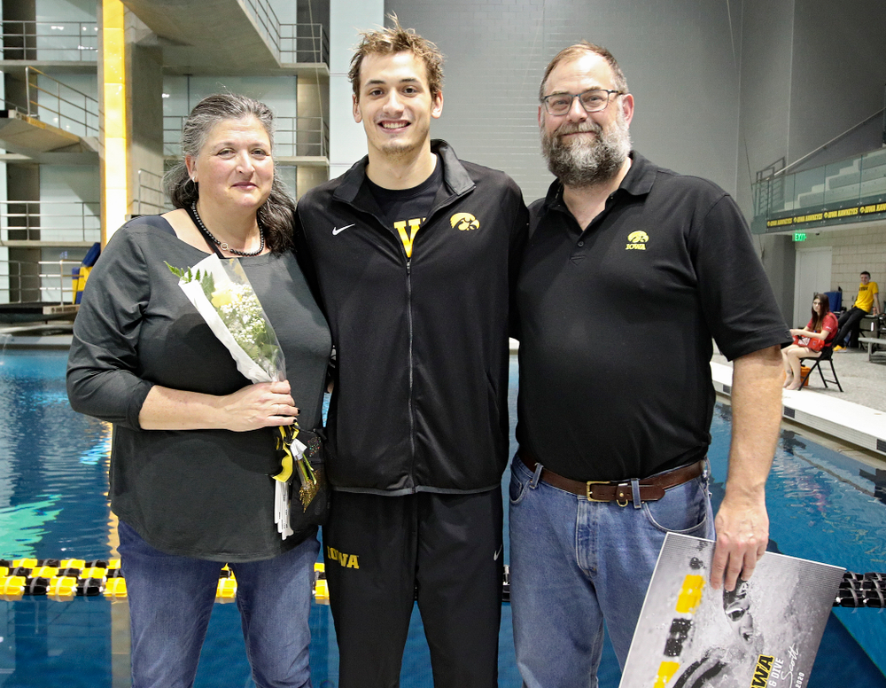Iowa's Will Scott is honored on senior day before their meet at the Campus Recreation and Wellness Center in Iowa City on Friday, February 7, 2020. (Stephen Mally/hawkeyesports.com)
