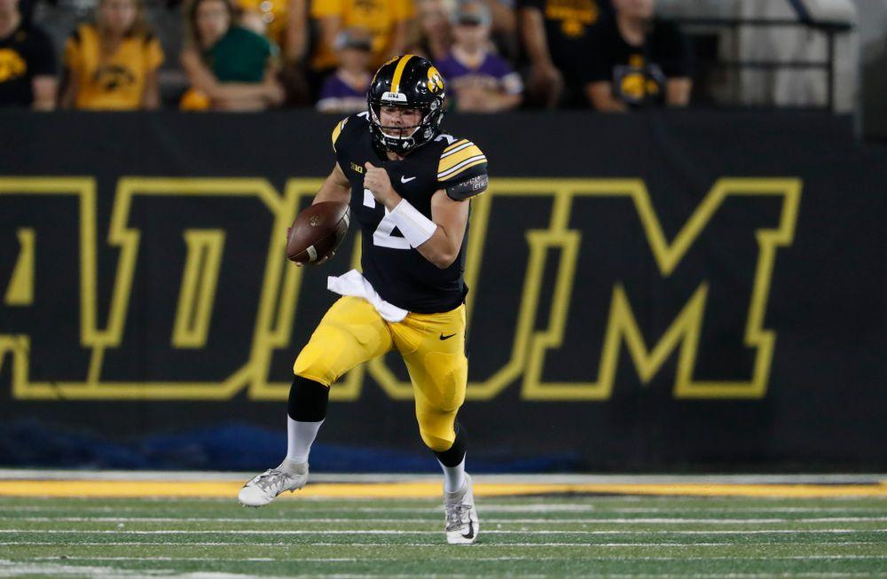 Iowa Hawkeyes quarterback Peyton Mansell (2) against the Northern Iowa Panthers Saturday, September 15, 2018 at Kinnick Stadium. (Brian Ray/hawkeyesports.com)