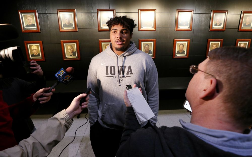 Iowa Hawkeyes offensive lineman Tristan Wirfs (74) answers questions from the media on the Hawkeyes selection to face USC in the 2019 Holiday Bowl Sunday, December 8, 2019 at the Hansen Football Performance Center. (Brian Ray/hawkeyesports.com)