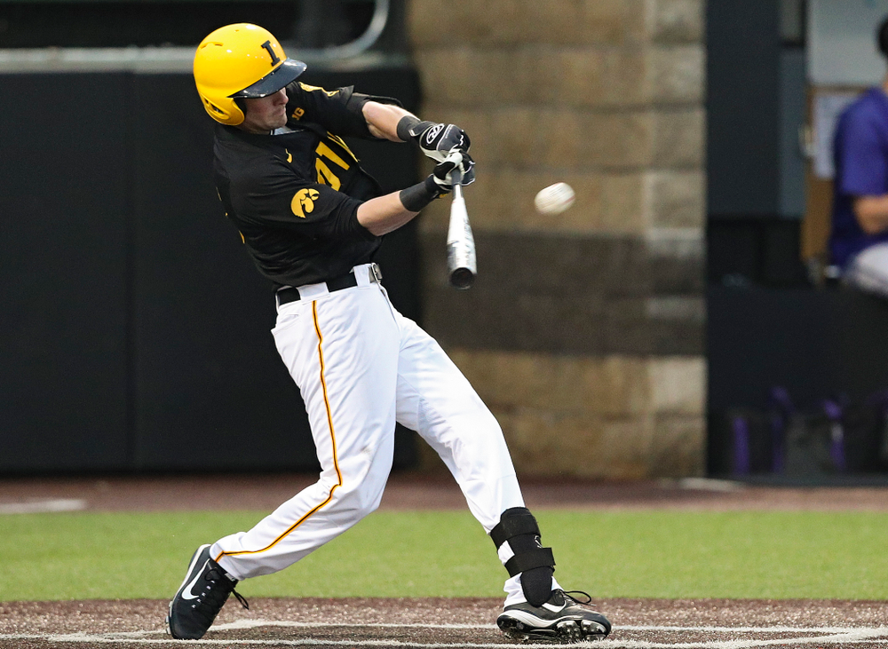 Iowa Hawkeyes left fielder Chris Whelan (28) hits a double during the fourth inning of their game against Western Illinois at Duane Banks Field in Iowa City on Wednesday, May. 1, 2019. (Stephen Mally/hawkeyesports.com)