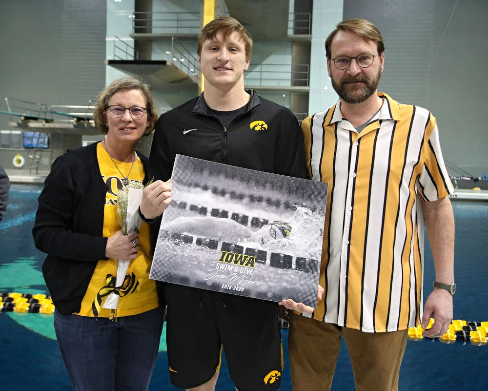 Iowa's Joe Myhre is honored on senior day before their meet at the Campus Recreation and Wellness Center in Iowa City on Friday, February 7, 2020. (Stephen Mally/hawkeyesports.com)