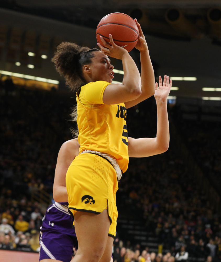 Iowa Hawkeyes guard Alexis Sevillian (5) against the Northwestern Wildcats Sunday, March 3, 2019 at Carver-Hawkeye Arena. (Brian Ray/hawkeyesports.com)